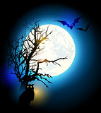 Halloween background with tree