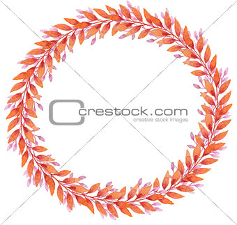 Frame with orange and pink autumn leaves