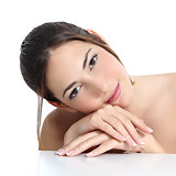 Beauty woman face and hands with french manicure