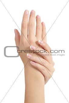 Beauty woman hands with perfect french manicure