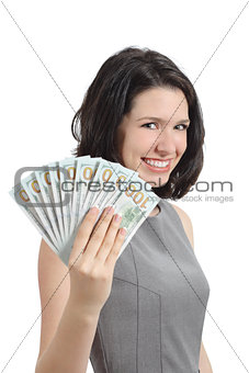 Business woman showing money holding banknotes
