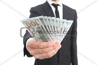 Close up of a business man hand holding money