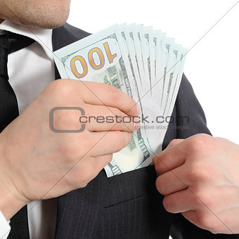 Close up of a business man hand keeping money in his pocket