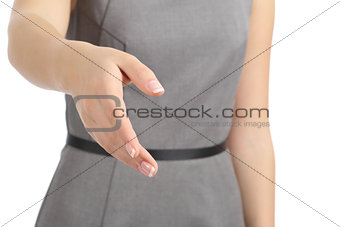 Close up of a woman hand ready to handshake