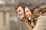 Couple profile looking forward in winter