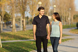 Couple taking a walk in a park