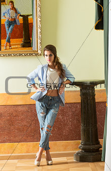 casual modern girl in ancient palace