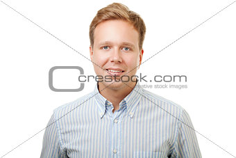 Smiling blond man in shirt isolated on white