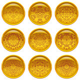 Set golden buttons with patterns