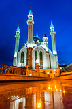 Night view of the Kul Sharif Mosque in Kazan Kremlin. One of the largest mosques in Russia. UNESCO World Heritage Site