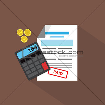 Calculator, coins and debit list, vector flat