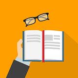 Reading book flat vector illustration