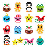 Christmas Kawaii icons - Christmas pudding, penguin, gingerbread man