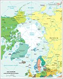 Arctic region physiography map