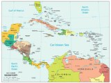 Central America and Caribbean physiography map