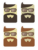 Vector set of cartoon male faces with hipster haircut