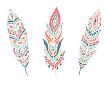 Ethnic Feathers. Hand Drawn Design Elements