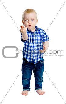 Little boy in a plaid shirt in full growth