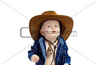 Little boy in cowboy hat and tie