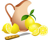 Clay jug with lemons