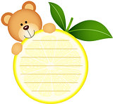 Label with teddy bear eating lemon
