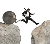 Businessman overcomes obstacles