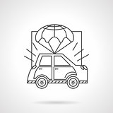 Car body insurance line vector icon