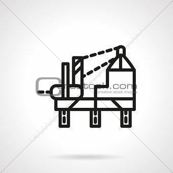 Oil platform simple line vector icon