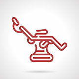 Red line tattoo chair vector icon