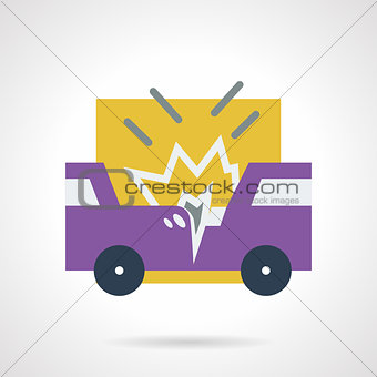 Car accident flat vector icon