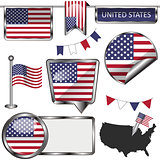 Glossy icons with flag of United States