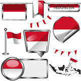 Glossy icons with flag of Indonesia