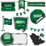Glossy icons with flag of Saudi Arabia