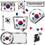 Glossy icons with flag of South Korea