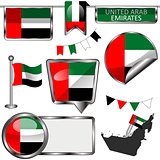 Glossy icons with flag of UAE