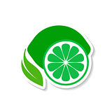 Lime fruit icon label