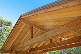 wooden roof construction of outdoor carport