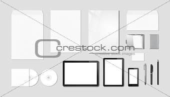 Corporate branding mockup template, grey background