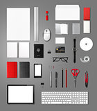 Office supplies mockup template, isolated on background