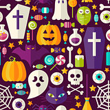 Flat Dark Halloween Party Seamless Pattern