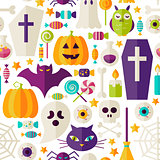 Flat Halloween Party Objects Seamless Pattern over White