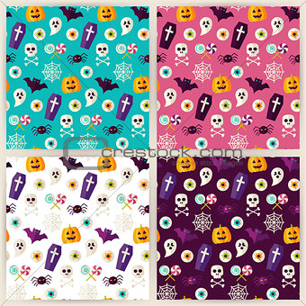 Flat Halloween Trick or Treat Objects Seamless Pattern Set