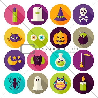 Flat Magic Halloween Witch Circle Icons Set with long Shadow