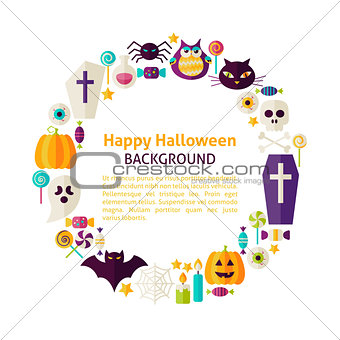 Flat Style Vector Circle Template Collection of Halloween Holida