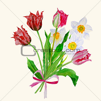 Bouquet of tulips and narcissuses-06