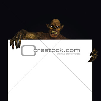 3D monster holding a blank sign