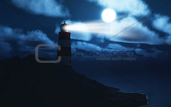 3D lightouse with stormy sea
