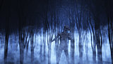 3D demonic figure in a foggy forest