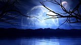 3D haunting background with moon, planet and tree silhouette