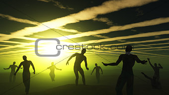 3D zombies in green spooky landscape